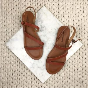 Lucky Brand Alexcia Brown Camel Leather Sandals